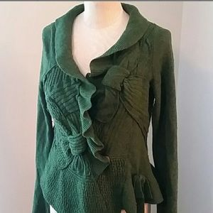 Anthropologie Moth green snap front wool sweater